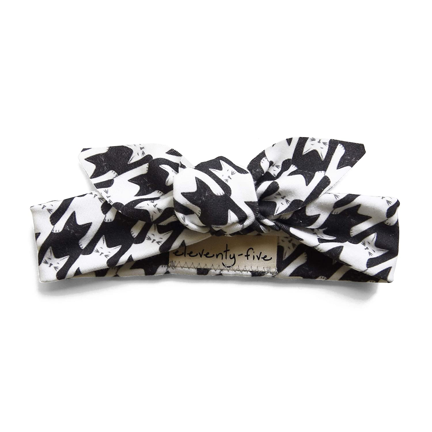 Cats-Tooth (Houndstooth) Organic Babies & Kids Adjustable Knotted Headband in Black and White