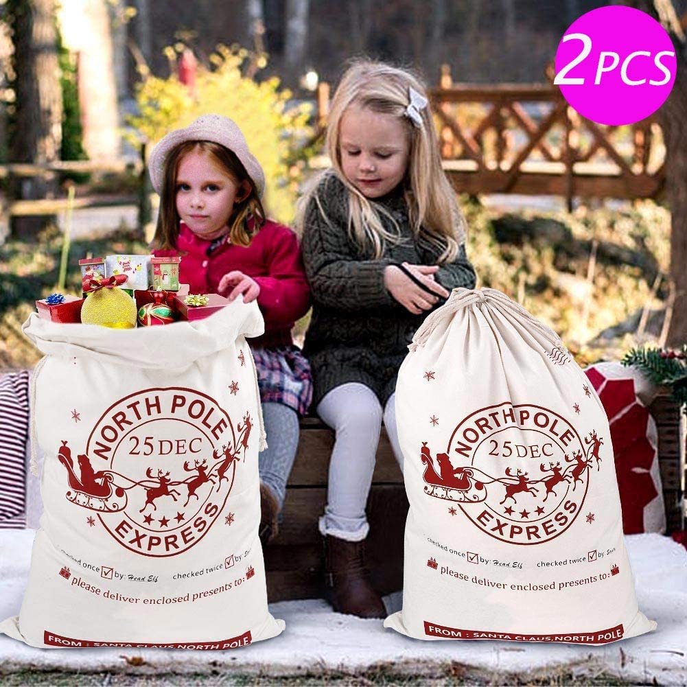 Children Gifts Stocking Bag Canvas Christmas Santa Sack For Xmas Surprise BS