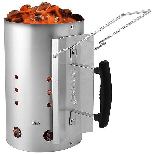 Aparato de encendido para parrillas y barbacoas de Amos, encendedor rápido de briquetas y carbón vegetal para camping y barbacoa de acero galvanizado ...