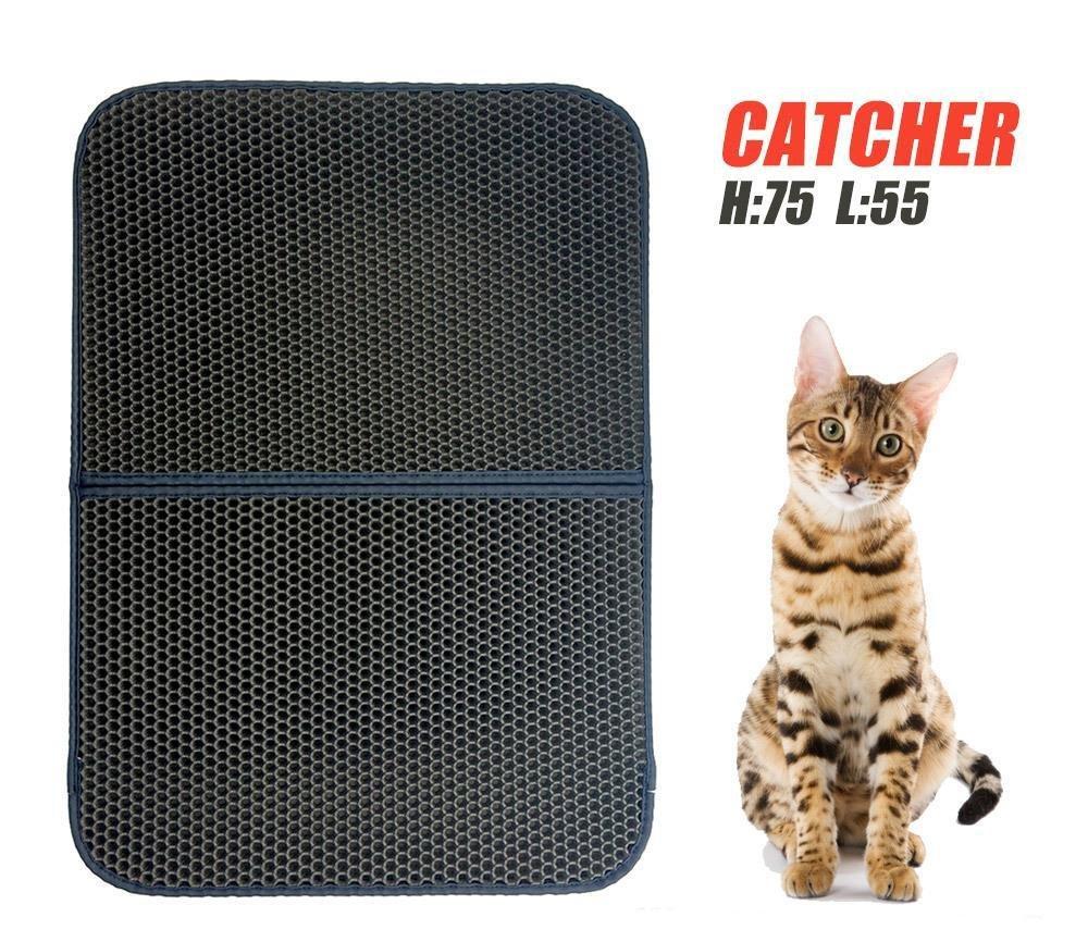 Weiwei Cama de Perro Gato de Espuma de Nido de Abeja Arena Mat Mat Perro casa Estera del Animal doméstico de la Estera Impermeable Negro Mate 75 * 55cm: ...