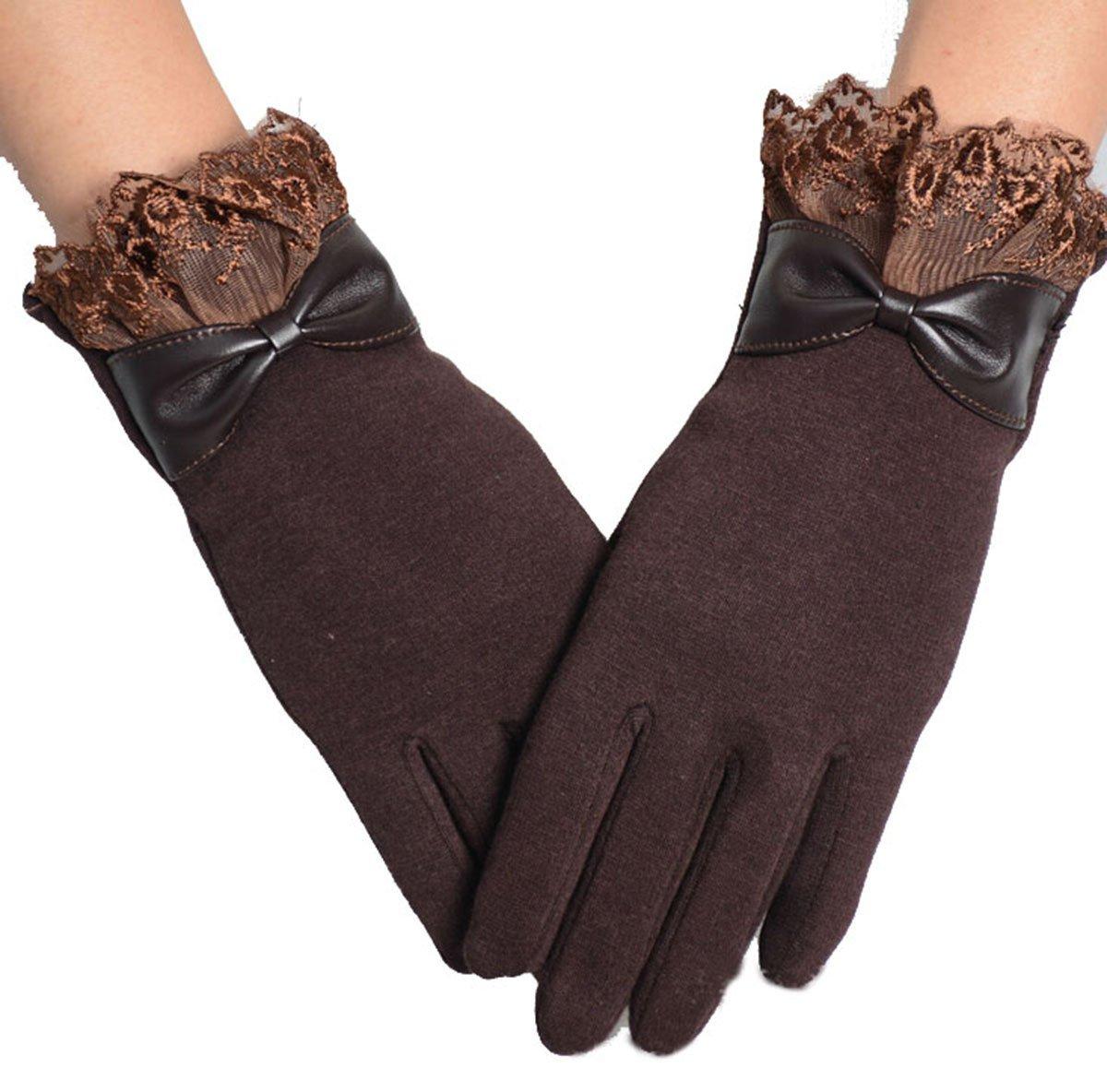 ZUMUii Butterme da donna di pizzo Touch Screen Texting Driving Inverno Foderato spessore caldo guanti con fiocco (caffè)