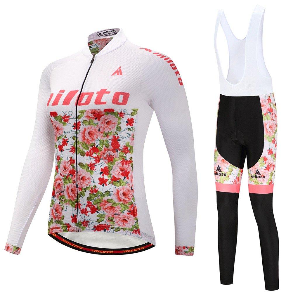 Flower Sea Uriah Women's Cycling Jersey and White Bib Pants Thermal Fleece Sets Long Sleeve Reflective
