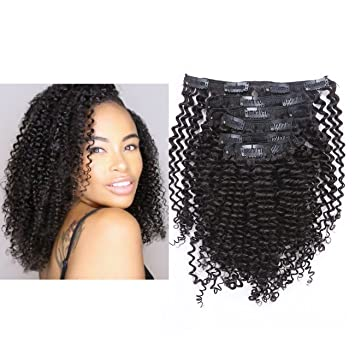 Anrosa 8a Grade Kinkys Curly Clip In Natural Hair Extensions Brazilian Afro Kinky Clip Ins Extensions For