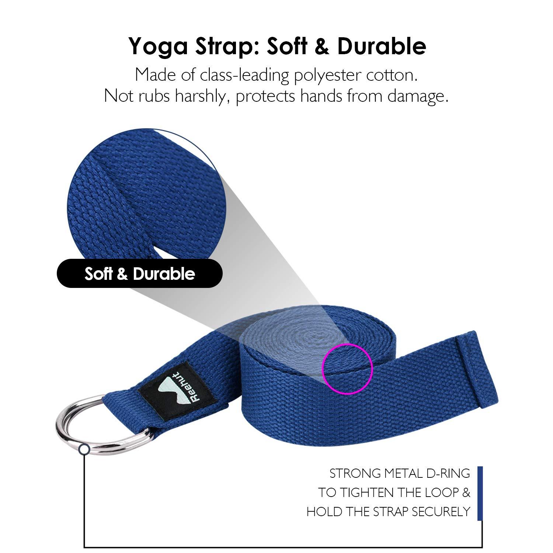 REEHUT Set de Bloques de Yoga (2pcs) y Correa para Yoga (2.4m), Bloque de Espuma EVA de Alta Densidad para Apoyar y Profundizar Las Posturas, Correa ...