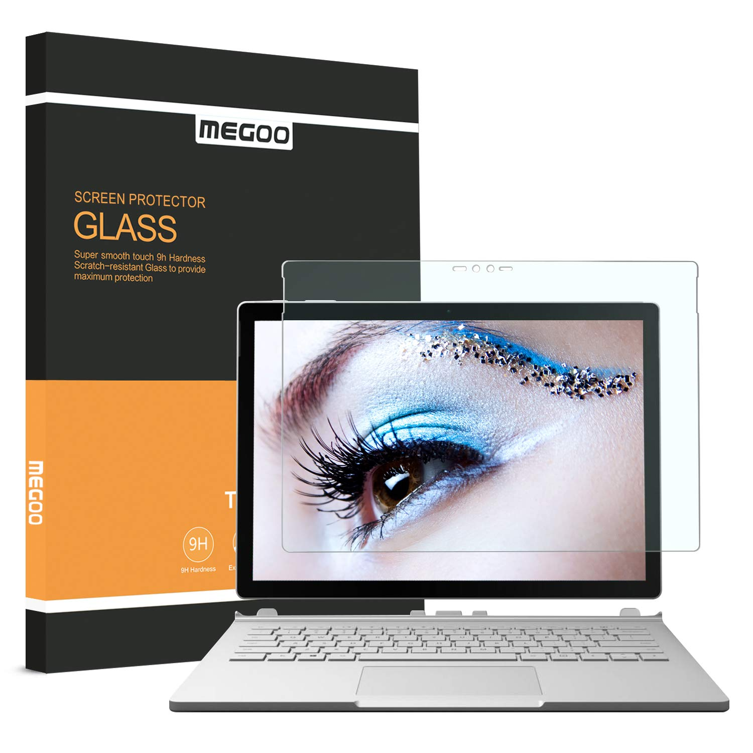 MEGOO Surface Book Screen Protector, [Blue Light Blocking] Protect Eyesight Tempered Glass Screen Protector (Updated Version 2017) Also for Microsoft Surface Book 2 (13.5 Inch)