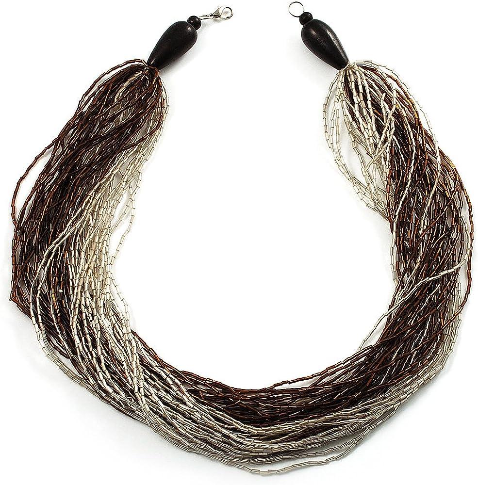 Grueso-Collar de perlas de vidrio madera Multirangs & (marrón), diseño envejecido, color blanco