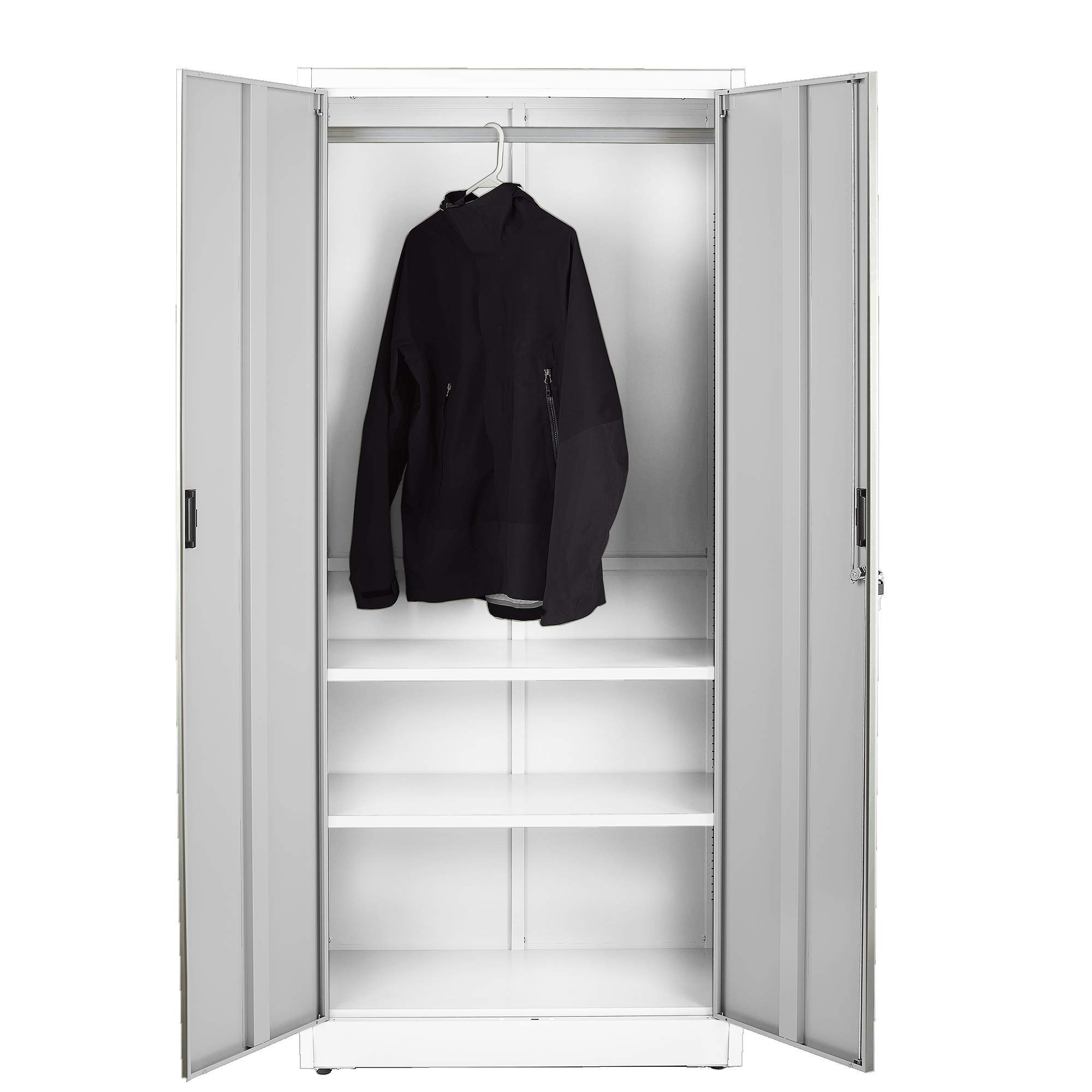 Fedmax Steel Wardrobe Closet Cabinet w/Coat Rack (3 Compartments) 70.86'' Tall x 31.5'' W x 15.75'' D (White)