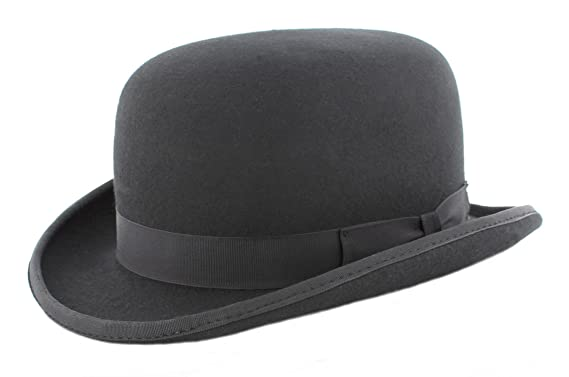 400c58ff27d06 Wool Felt Black Fashion Bowler Hat (small 55cm): Amazon.co.uk: Clothing
