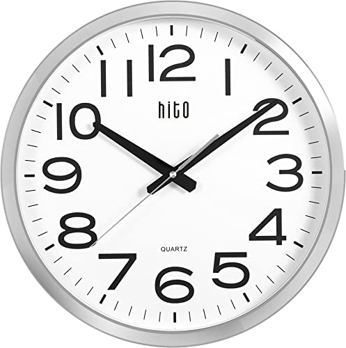 hito Silent Wall Clock Non Ticking Large Oversized Excellent Accurate Sweep Movement Glass Cover, Modern Decorative for Kitchen, Living Room, Bathroom, Bedroom, Office, Classroom 16 inches, Chrome