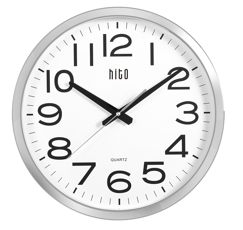 Amazon.com: HITO Reloj de pared silencioso con cubierta de ...