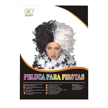 Ousdy Peluca estilo afro Cruella de Vil 691729 - Blanco y negro