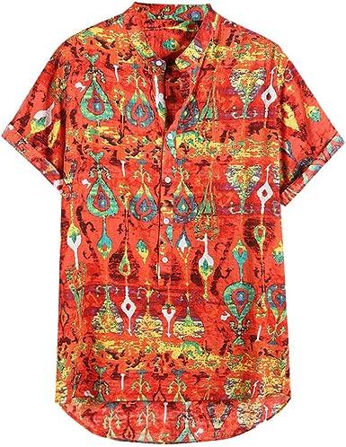 HCFKJ Hawaiana SeñOres Camisa Corta Impresa Colorida de Verano ...