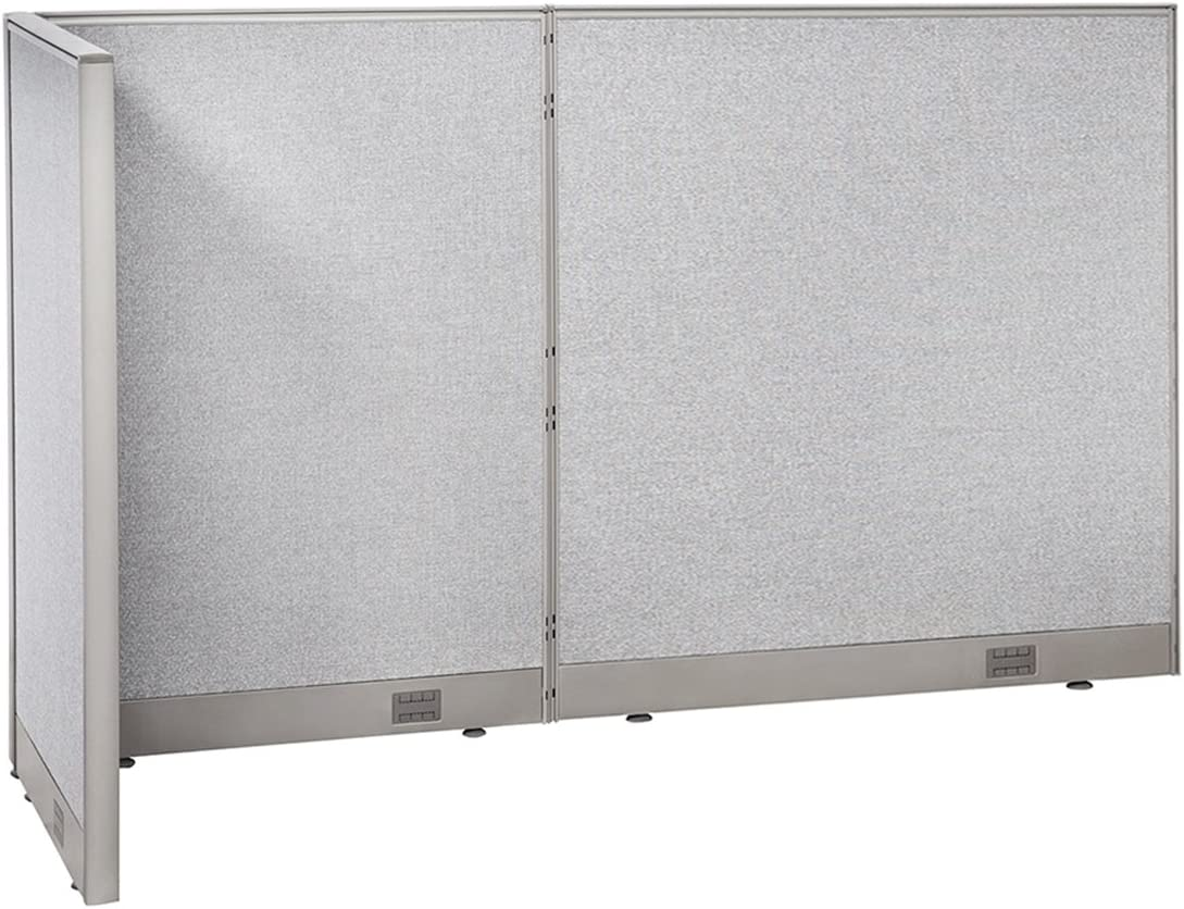 """GOF Freestanding L Shaped Office Partition, Large Fabric Room Divider Panel, 30""""D x 84""""W x 48""""H"""