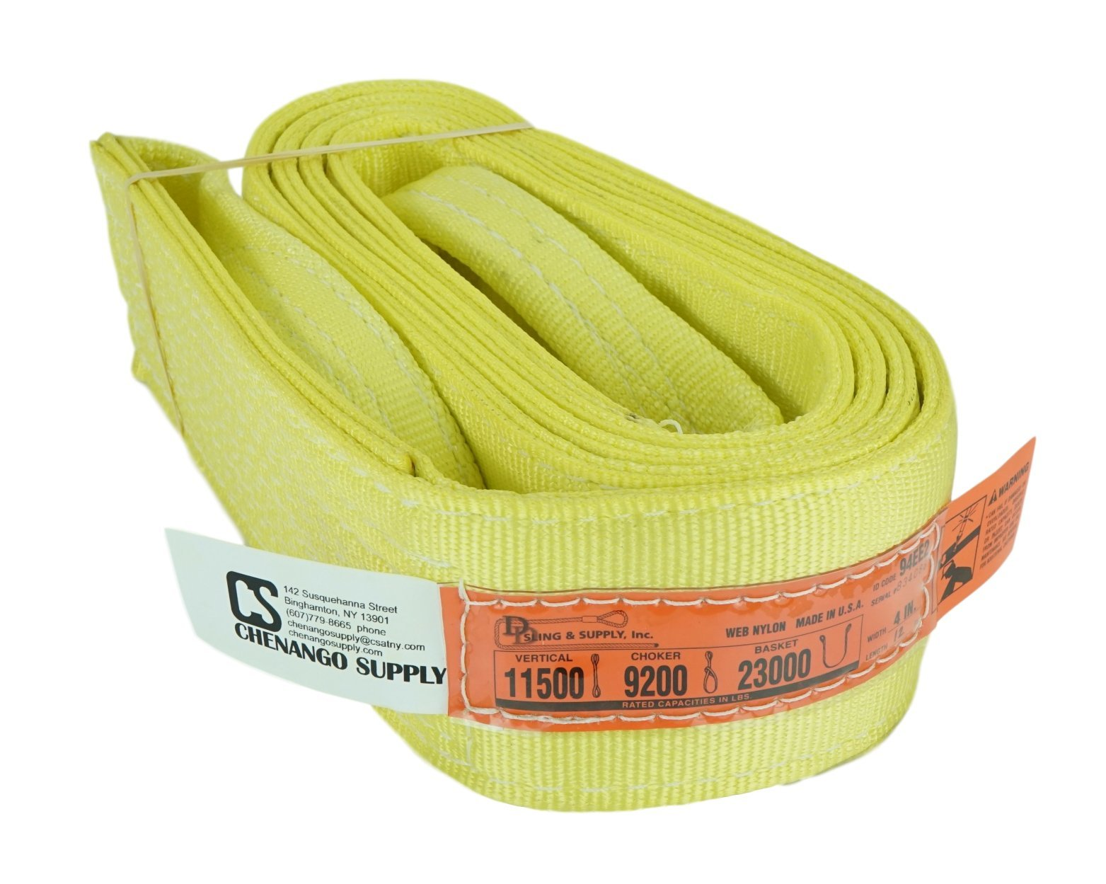 DD Sling. Multiple Sizes In Listing (Made in the USA) 4'' x 12', 2 Ply, Nylon Lifting Slings, Eye & Eye, Heavy Duty (900 webbing), 11,500 lbs Vertical, 9,200 Choker lbs, 23,000 lbs Basket Load Capacity (Made In The USA) (4''x12')