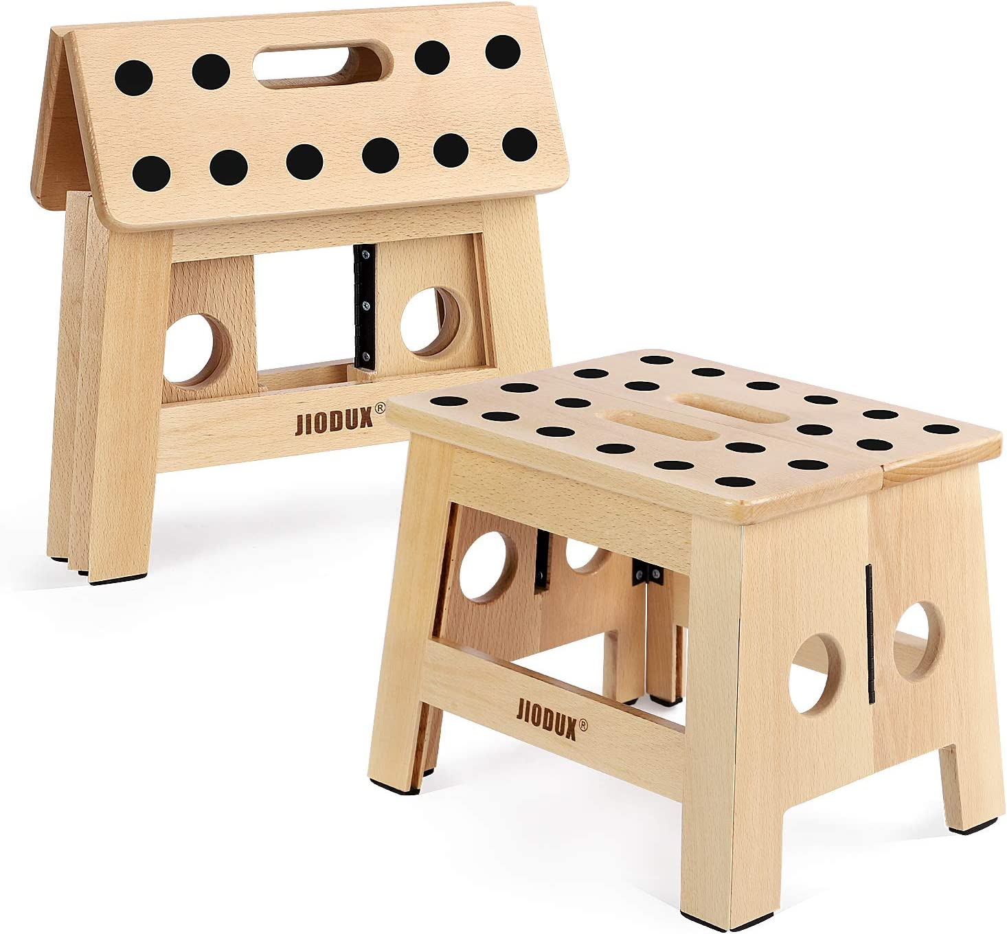 """Jiodux Wooden Step Stool 2rd Generation ,Step Stool for Kids Children & Adult-Folding Step Stool for Living Room,Bedroom,Laundry Room or Garden The Original Patent Pending -Wooden Stool - 8.8"""" Height"""