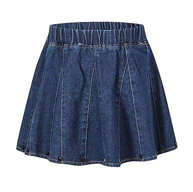 36498078593f Ameyda Kids Girls' Denim Skirt, Flare A-Line Pleated Denim Skirt for Toddler