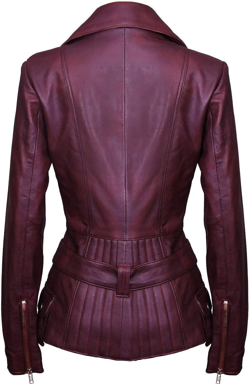 Ladies Conker Brown Long Feminine Leather Biker Jacket