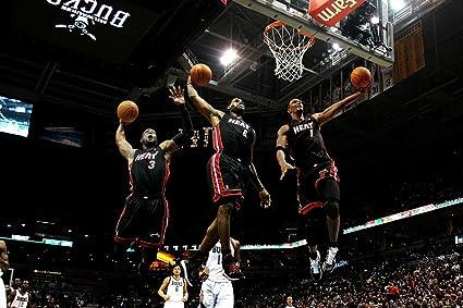 Dwyane Wade Chris Bosh Lebron James Miami Heat Basketball Limited Print  Photo Poster 22x28