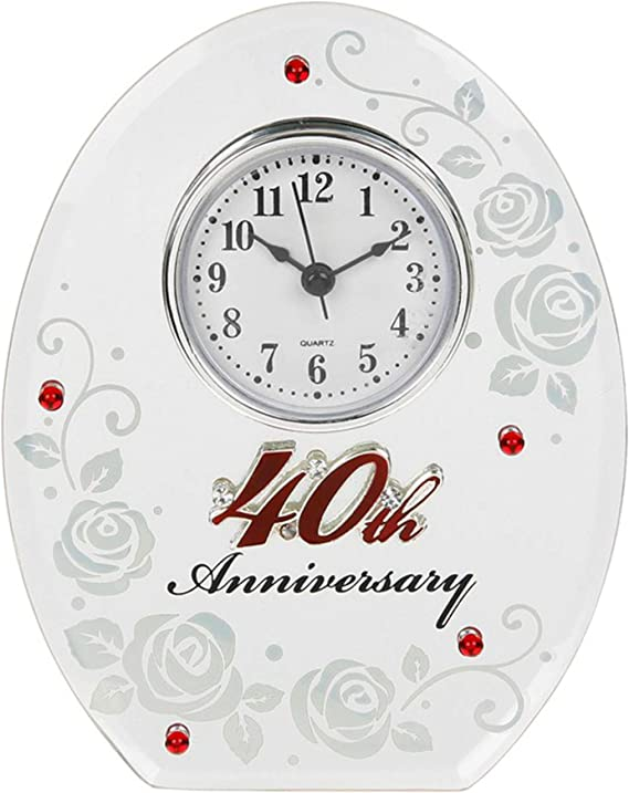 30cm Wall Mountable Unique Personalised 40th Ruby Wedding Anniversary Clock