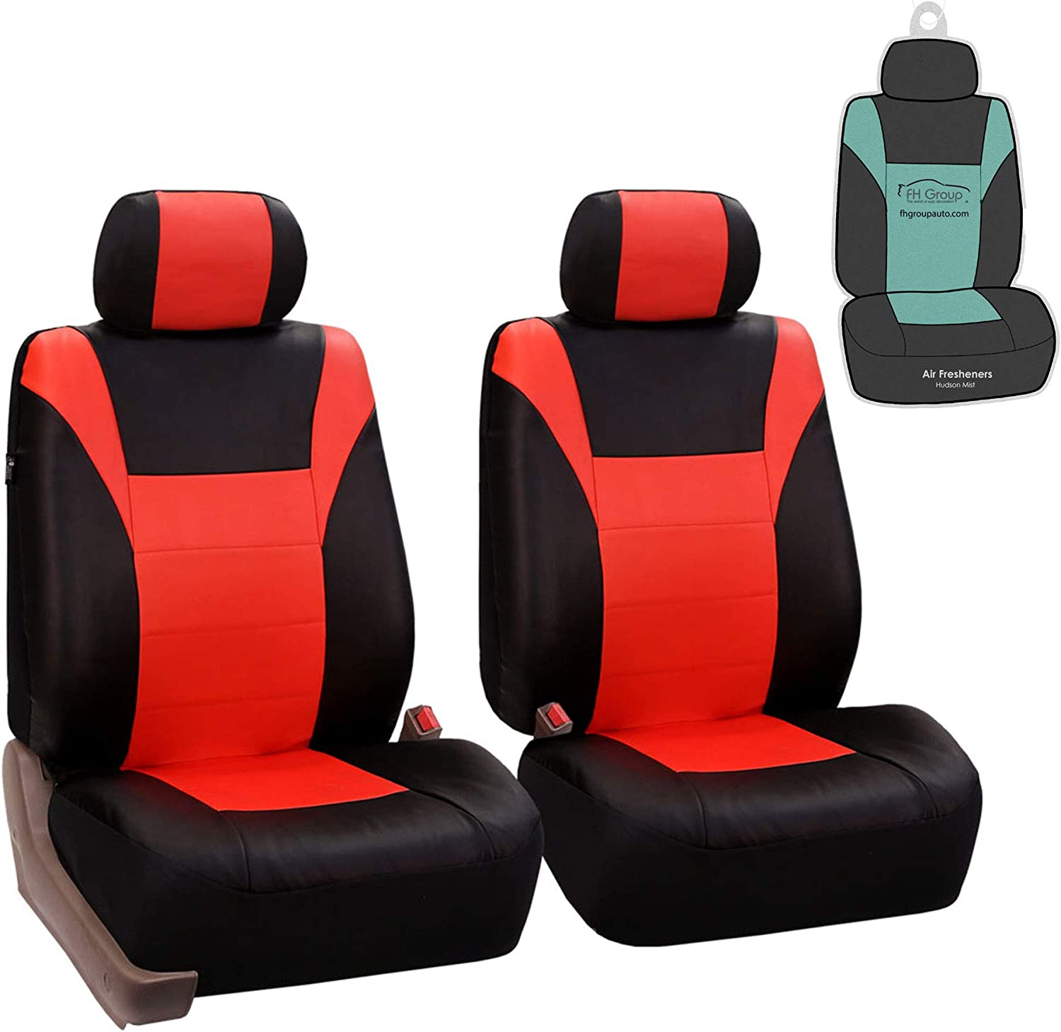 FH Group PU003102 Race Car Inspired PU Leather Seat Covers (Tangerine) Front Set - Universal Fit