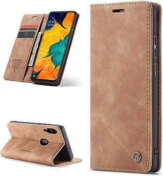 iAdvantec Funda Libro para Samsung Galaxy A40, Estuche de Cuero Estampado de Cuero con Tapa y Cartera, Carcasa PU Leather con TPU Silicona Case Interna Suave, Marrón: Amazon.es: Electrónica