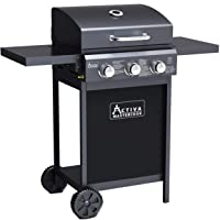 Activa Gasgrill 3 flammig groß Schwarz Gas Barbecue Garten ✔ Rollen ✔ Deckel ✔ Seitentische beidseitig ✔ Ablagefläche ✔ eckig ✔ rollbar ✔ Stand ✔ Grillen mit Gas ✔ mit Station ✔ mit Rädern