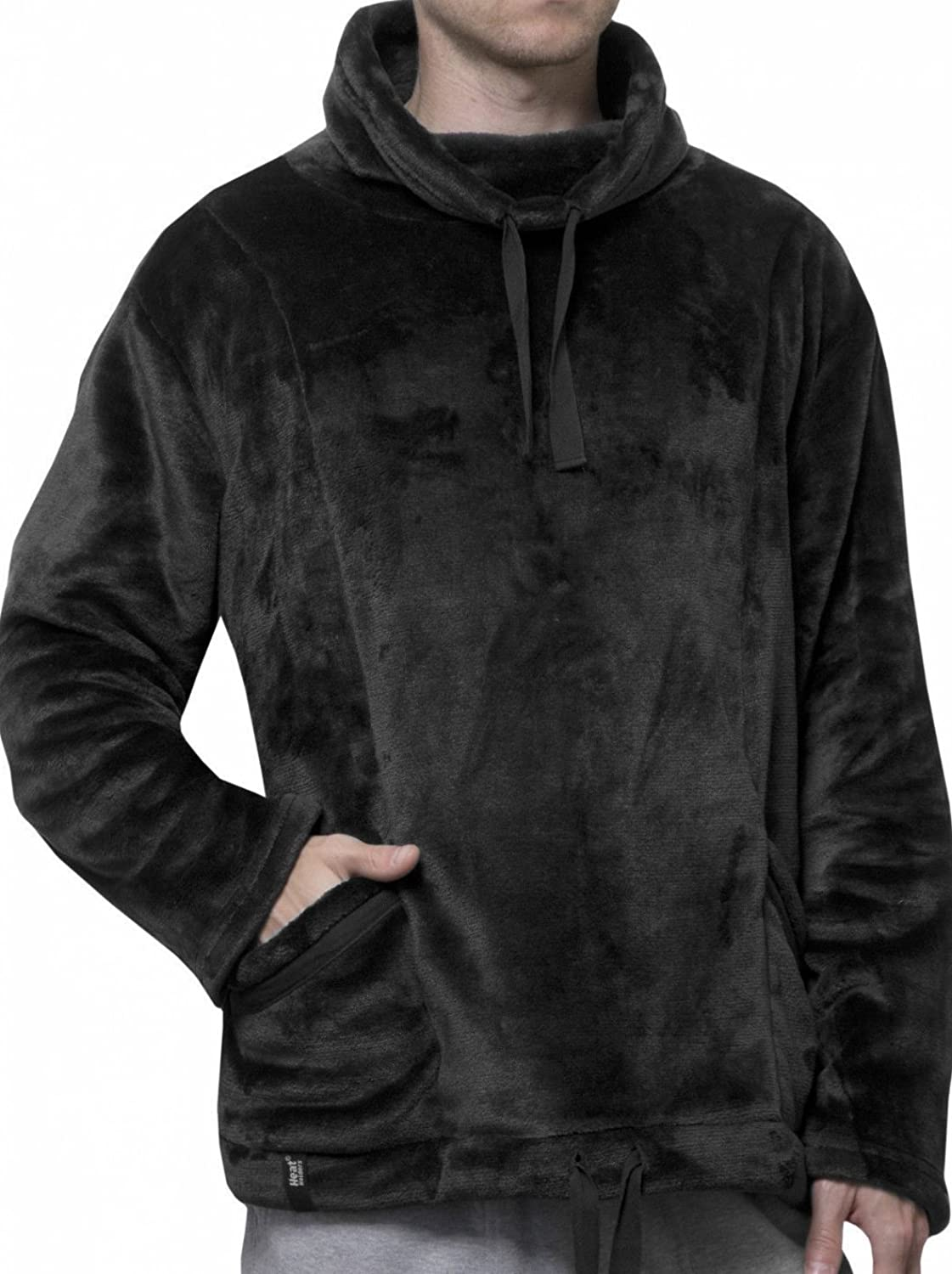 """1 no. Mens 1.4 tog Thermal Winter Warm Heat Holders Snugover Fleece Jumper In Black S/M - 34"""" x 38"""" Chest"""