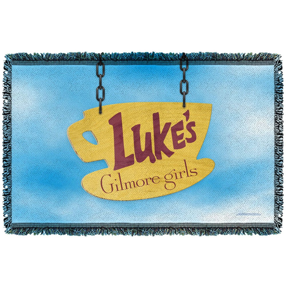 Gilmore Girls Lukes Diner Sign Woven Throw Blanket (White, 36x58)