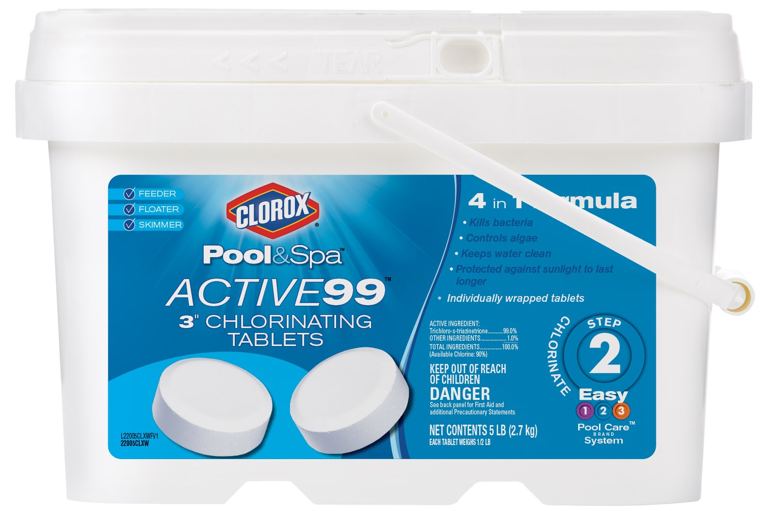 CLOROX Pool&Spa 22005CLXW Active99 3'' Chlorinating Tablets
