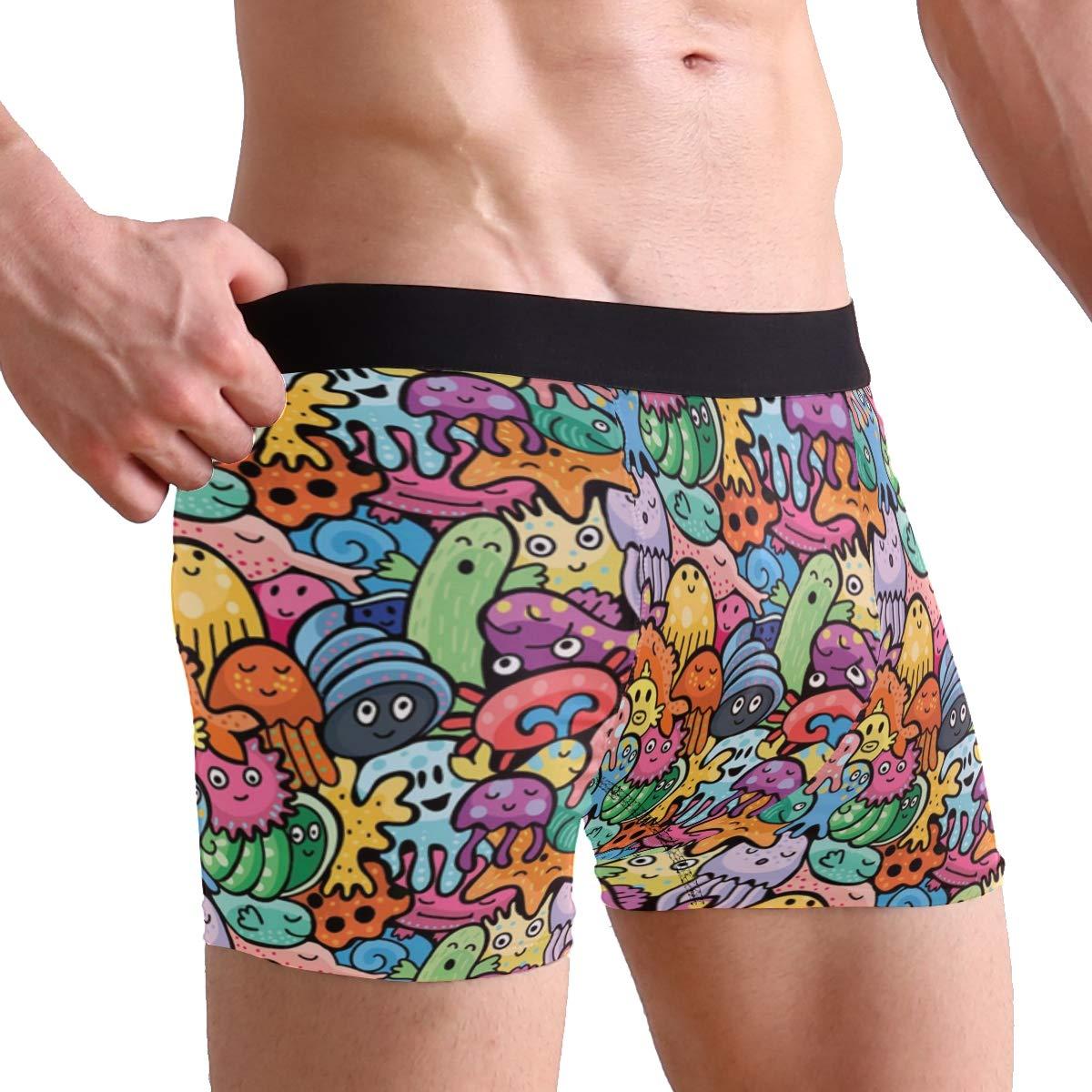 Sea Animals Pattern Boxer Briefs Mens Underwear Pack Seamless Comfort Soft