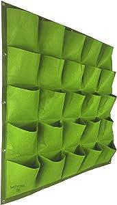 25 Pockets Vertical -Hanging Growing Bag Outdoor/Indoor Planter for Wall Garden Flower -Decor Fence Hanger with Wall Pockets Grow Planting Plant kit pots (25 Pockets, Green) (25 Pockets, Green)