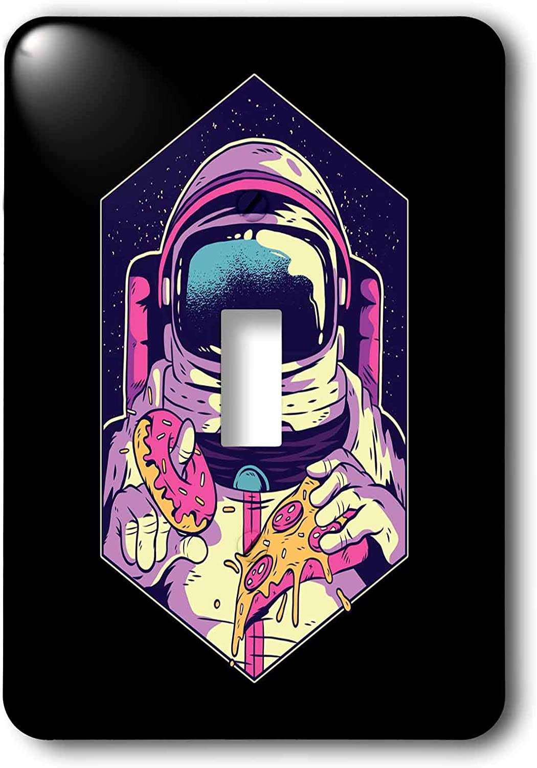 3dRose Sven Herkenrath Fantasy - Illustration Design with Astronaut and Pizza Food Sweet - single toggle switch (lsp_306912_1)