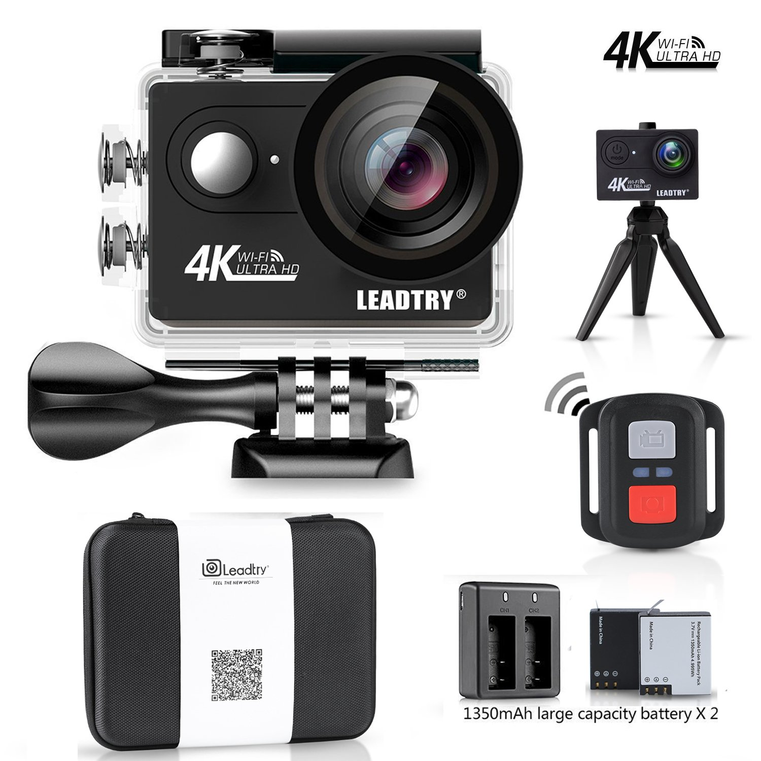 LeadTry HP7R Plus Sport Action Camera Wifi Full 4K 12MP HD Mini Cam 100Ft Underwater Waterproof