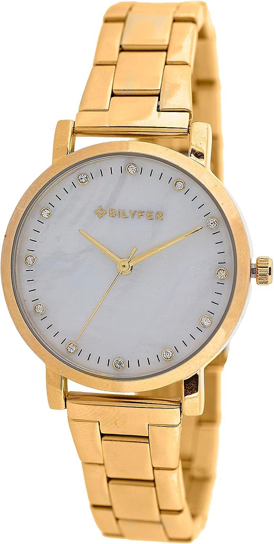 Reloj Bilyfer para Mujer con Correa Dorada y Pantalla en