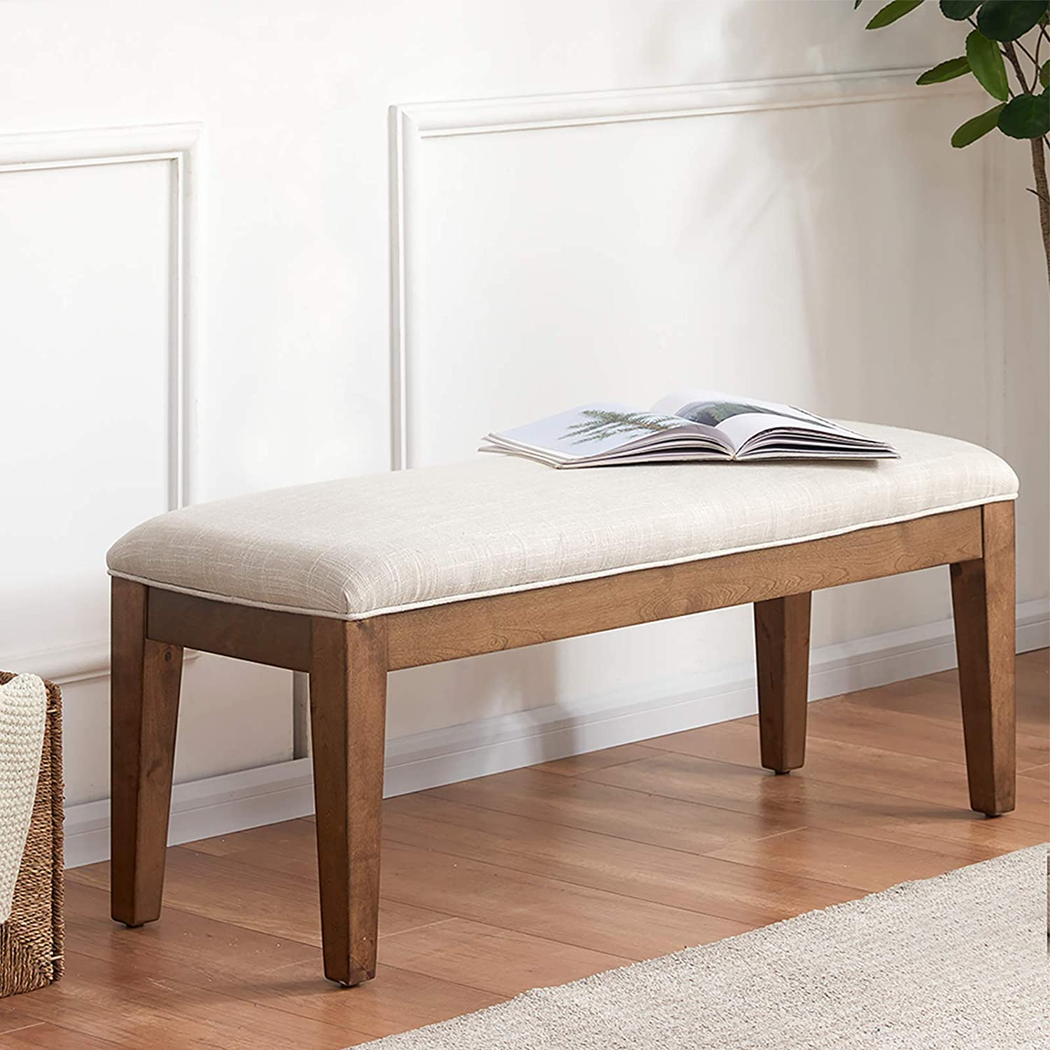 HUIMO Upholstered Entryway Bedroom Bench, Bench for End of Bed, Dining Bench with Padded Seat for Kitchen, Living Room, Fabric Solid Wood Indoor Bench (Beige)