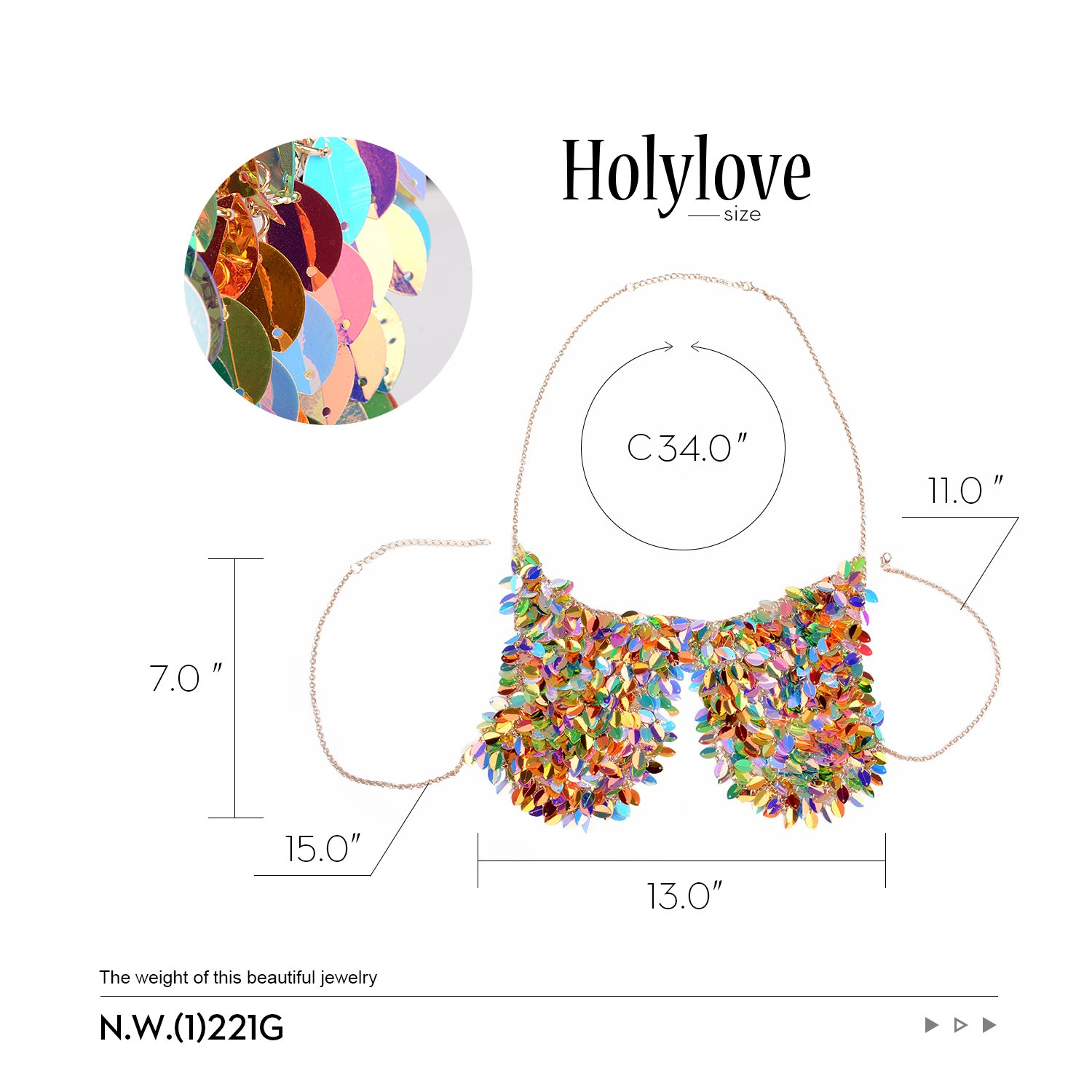 Holylove Paillette Sequin Bra Tops Body Chain Necklace Jewelry Colorful Sexy Charm for Women Lady Summer Beach Hawaiian Style Bikini Beachwear - HLBN5 Colorful by Holylove (Image #3)