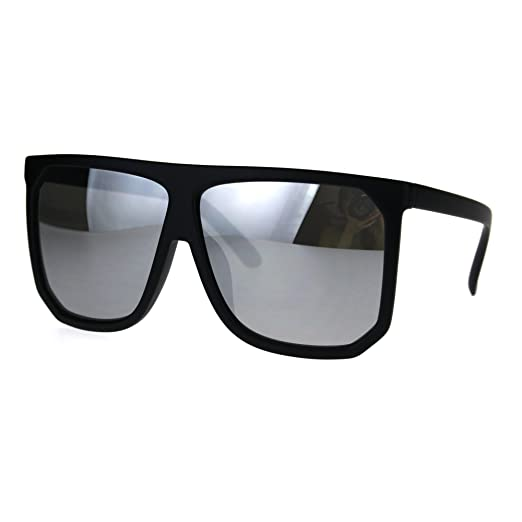 301ce69b03 Amazon.com  Mobster Flat Top Large Oversize Plastic Retro Sunglasses ...