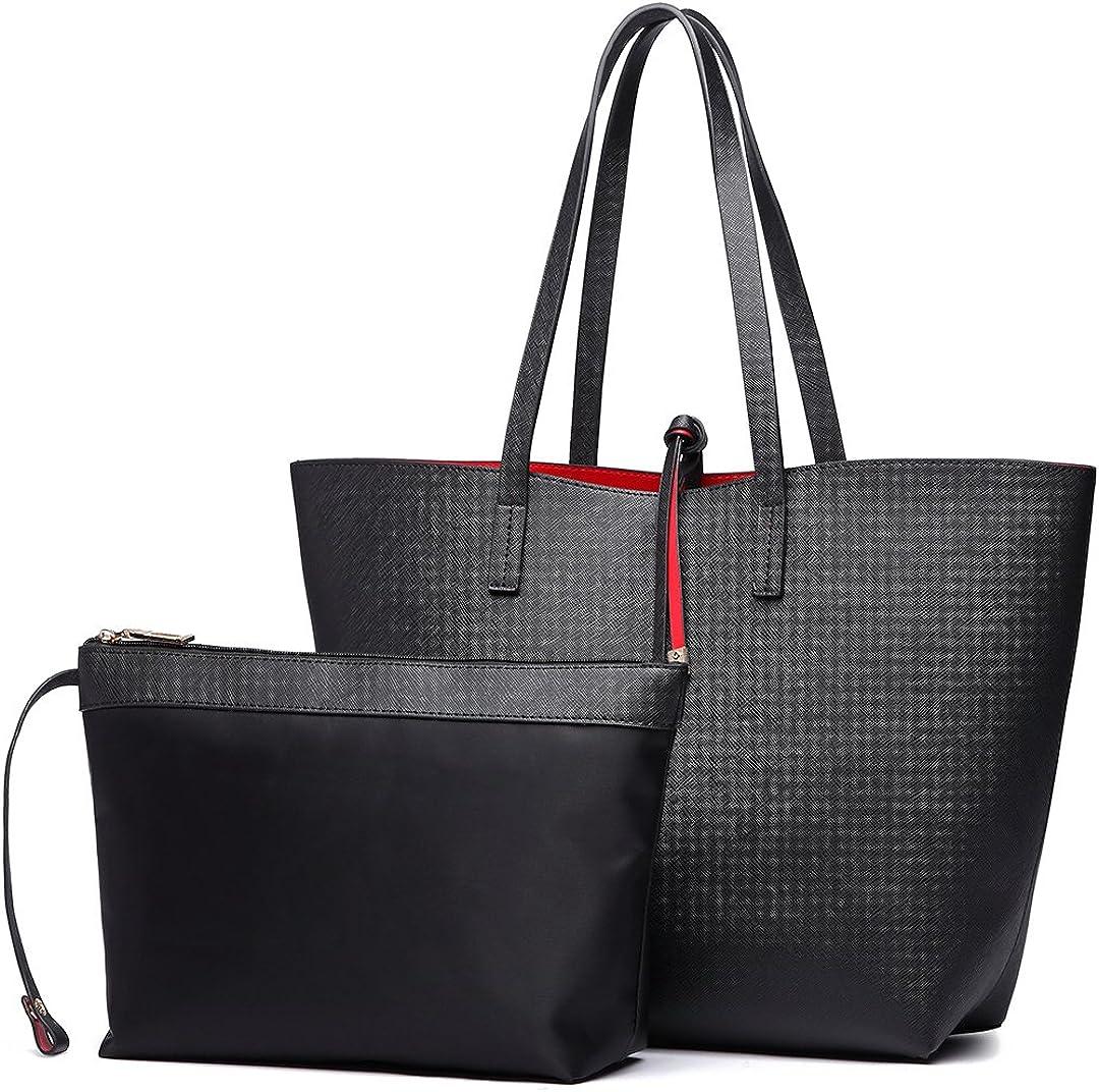 Miss Lulu Women Tote Bag Reversible Hobo Shoulder Handbag Top Handle Purse Set Pu Leather 2 Pieces