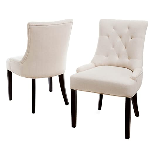 Amazon.com: Best Selling Hemmingway Tufted Brown Fabric Dining/Accent Chair, Off-White, Set of 2: Kitchen & Dining