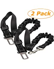 Tavie 2 Pack Dog Car Harnesses Seat Belt Anti Shock Pet Cat Bungee Adjustable Lead Clip Safety Seats Belts, Black