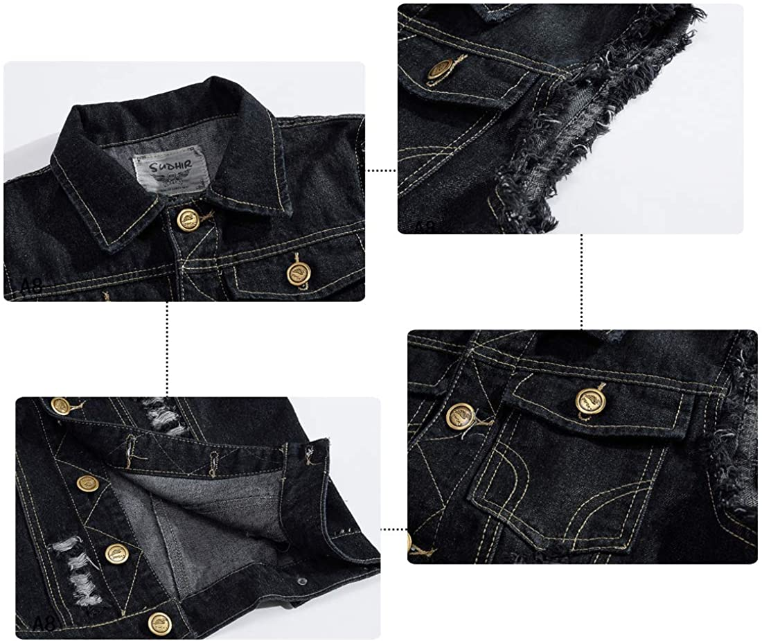 Mens Sleeveless Jeans Jackets Waistcoat Denim Vest for Men