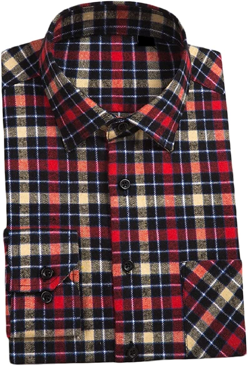 Abetteric Mens Long Sleeve Square Collor Plaid Regular-Fit Casual Flannel Shirts AS15 3XL