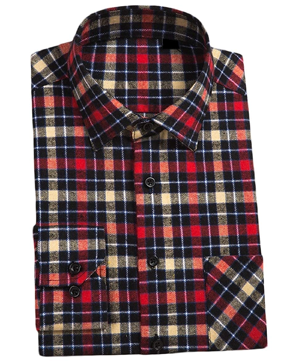 Abetteric Mens Long Sleeve Square Collor Plaid Regular-Fit Casual Flannel Shirts AS15 M