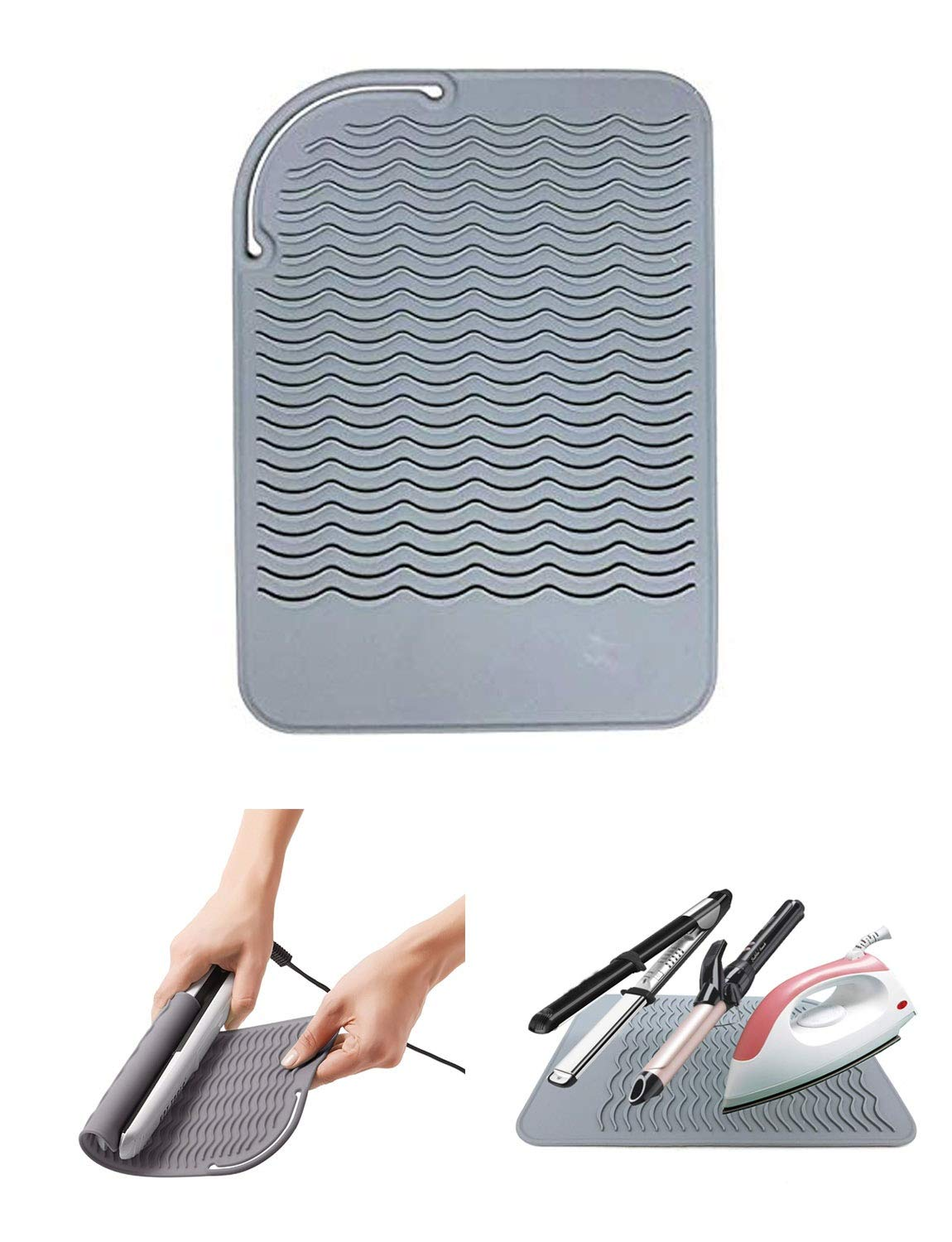 Curling Iron Holder, Heat Resistant Silicone Mat, Portable, Fast Chilling, Food Grade Material for Curling Iron, Hair Straightener, Curling Wand Storage, Gray