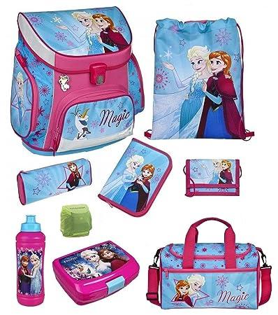Familando Disney die Eiskönigin Schulranzen-Set 9-TLG. Scooli Campus Up Frozen Magic mit Sporttasche Federmappe und Regenschu