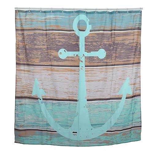 aihome maritim anker stoff badezimmer dusche vorhang liner polyester wasserdicht mit 12 haken polyester - Stoff Vorhang Dusche