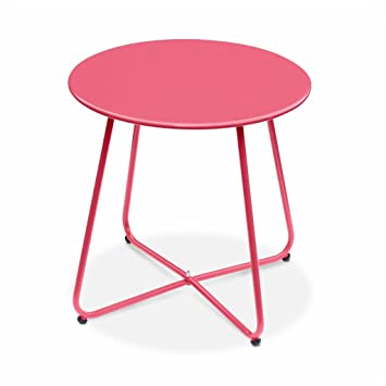 Alice\'s Garden Table Basse Ronde – Cecilia Rouge Framboise– Table d\'appoint  Ronde Ø45cm, Acier thermolaqué