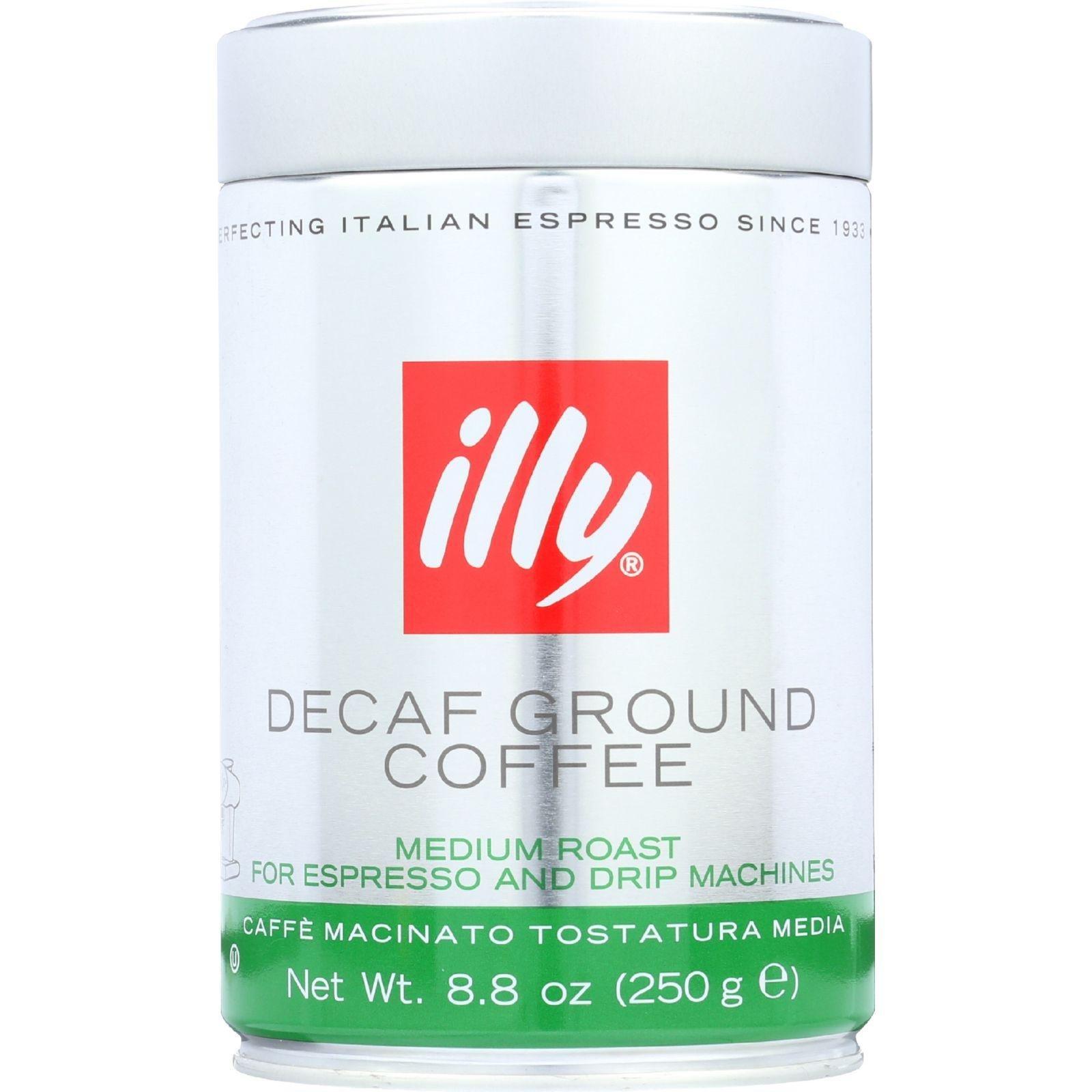 Illy Caffe Coffee Coffee - Espresso and Drip - Ground - Medium Roast - Decaf - 8.8 oz - case of 6 -
