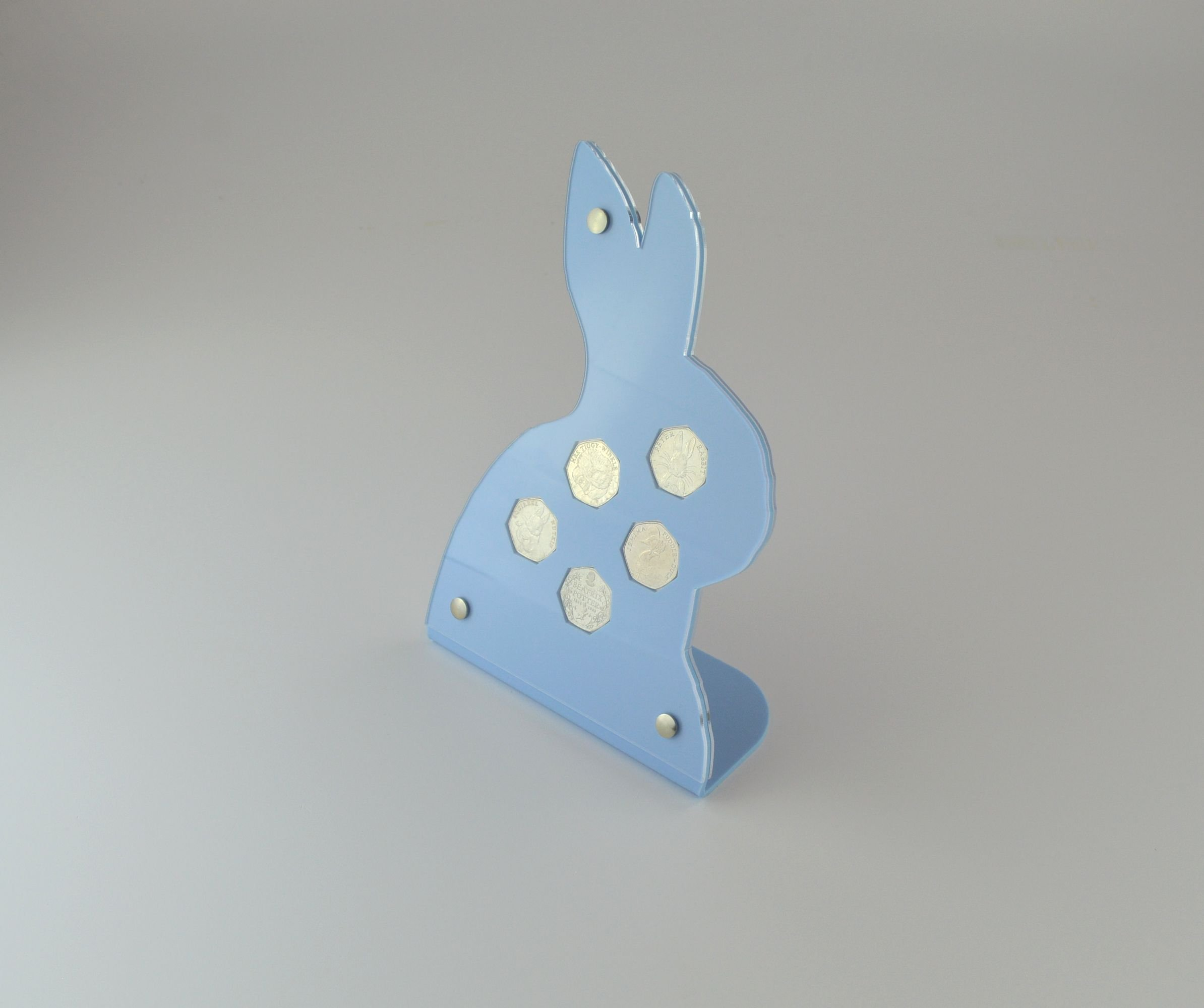 Coin Display Holder - ideal for Beatrix Potter 50p coin set - Rabbit shaped Blue Acrylic