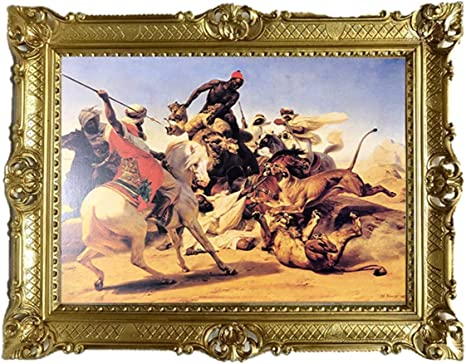 Tableau Mural Hamza Le Lion Et La Guerre Bilale Orientale Avec Cadre 90 X 70 Cm Repro Antique Pour Cafe Bar Maison Bureau Cabinet Amazon Fr Cuisine Maison